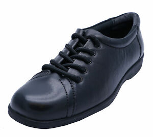 LADIES-BLACK-AMBLERS-LEATHER-LACE-UP-WORK-SCHOOL-SMART-CASUAL-SHOES-SIZE-4