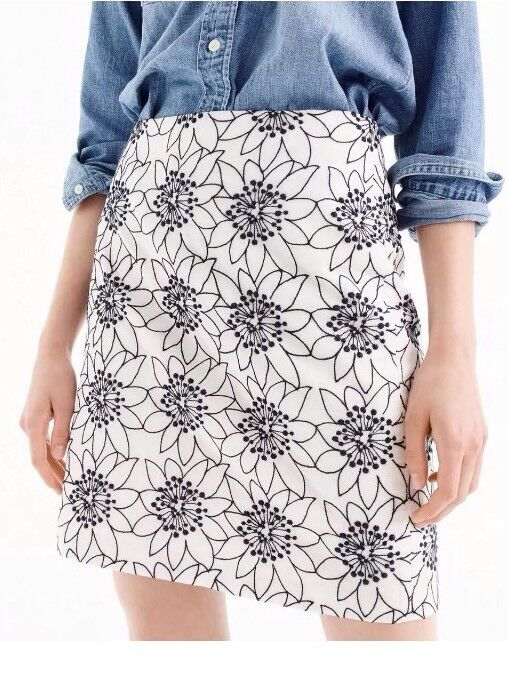 NWT J.Crew Embroidered Floral Mini Skirt Ivory Navy bluee G8559 Size 4