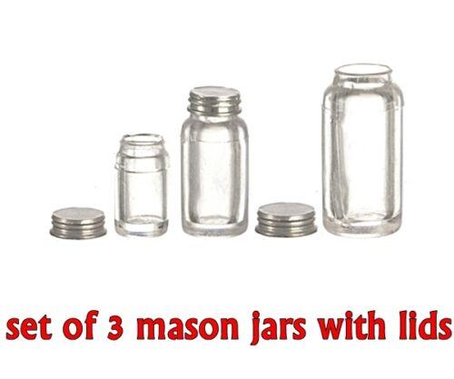 SET OF 3 MINIATURE CLEAR MASON JARS W//LIDS forFAIRY GARDEN orDOLLHOUSE Realistic