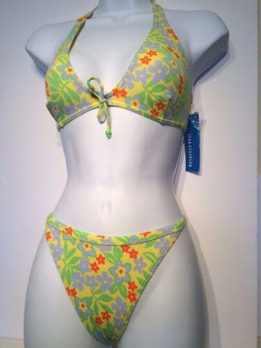 Ditsy Floral Cut Out Ladies Yellow Mix JRS Halterneck Bikini Set Size 12//14