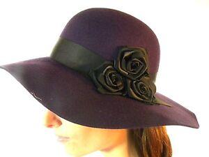 Chapeau Neuf Femme Feutre Laine Violet Prune Avec Noir Soie Noeud Rose Fleurs