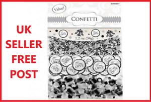 True-Love-Confetti-TRIPLE-PACK-Wedding-Glitter-Table-Decorations-Black-Silver