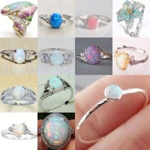 925 Silver White Fire Opal Ring Women Fashion Wedding Proposal Jewelry Size 5-10