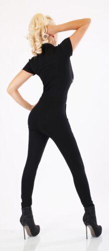 Damen Overall Jumpsuit Hosenanzug Strass Nieten Kragen Reißverschluss Schräg