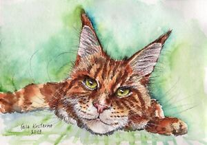 Ginger-Cat-Maine-Coon-original-watercolor-animal-painting-pet-kitten-red-art