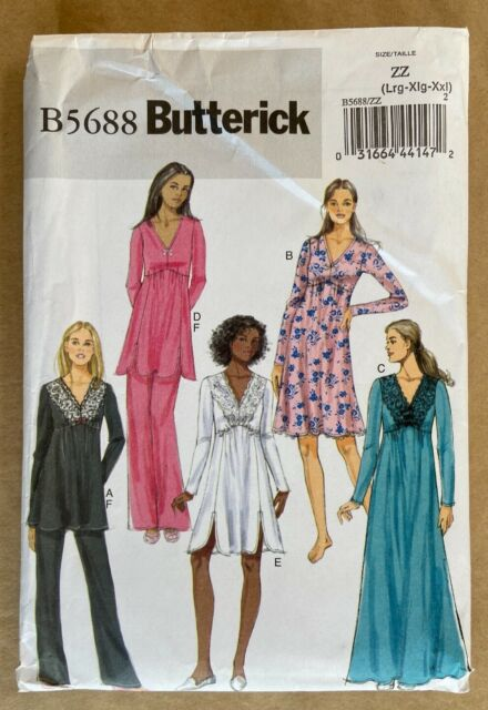 Size ZZ LRG-XLG-XXL Butterick Patterns B5784 Misses/' Pullover Top and Dress
