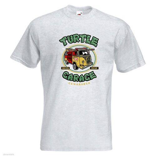 Turtle Garage Mens PRINTED T-SHIRT Teenage Mutant Hero Ninja Van Pizza TV Movies