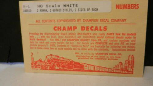 Gothic /& Roman Champ  Decal Set #X-1 HO Scale Number Sets 2 Sizes White NOS
