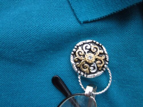 Eyeglass holder magnetic western goldtone//silvertone NEW on card rhinestone