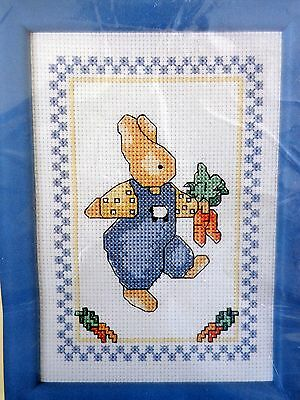 Bucilla Cross Stitch Kit Carrot Bunny with Frame Daisy Kingdom Easter