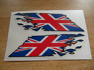 "Union Jack Flag ""ripped"" style stickers - 300mm decals x2 LARGE"