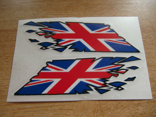"Union Jack Flag /""ripped/"" style stickers 150mm decals x2"
