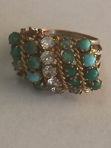 Large-Cluster-Solid-Yellow-Gold-14-K-With-Multi-Color-Stones-Size-6-25