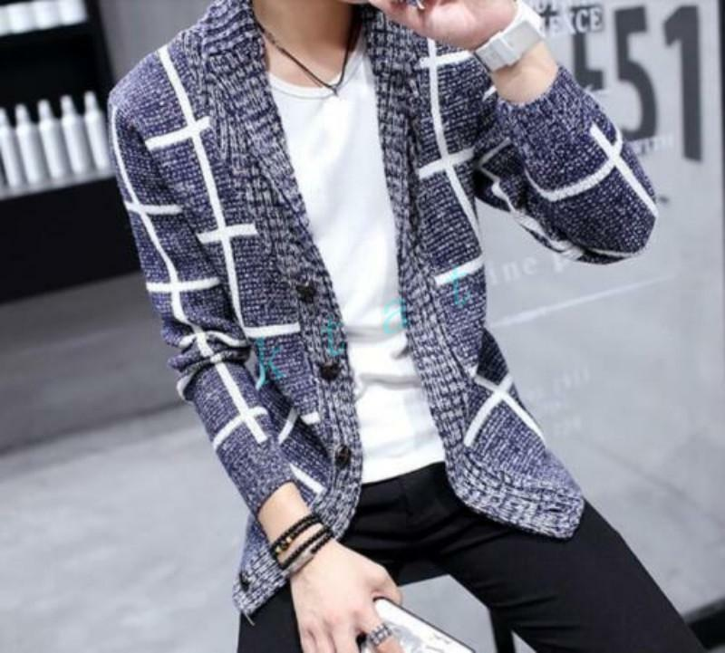 Korean Mens Winter Weave Knitting Sweaters Buttons Tops Lapel Coats New Fashion
