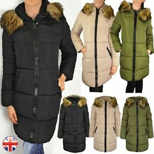 Womens Ladies Quilted Long Winter Coat Padded Puffer Fur Collar Hood Jacket Size