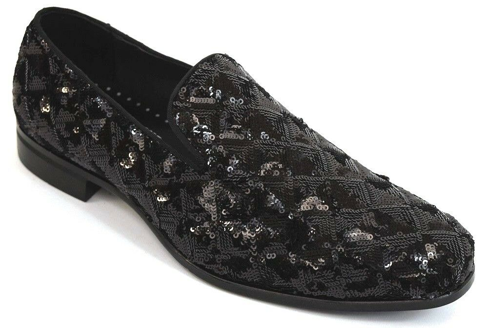 Mens Dress Casual Fancy Slip On Loafers Sequined Smokers Black STACY ADAMS