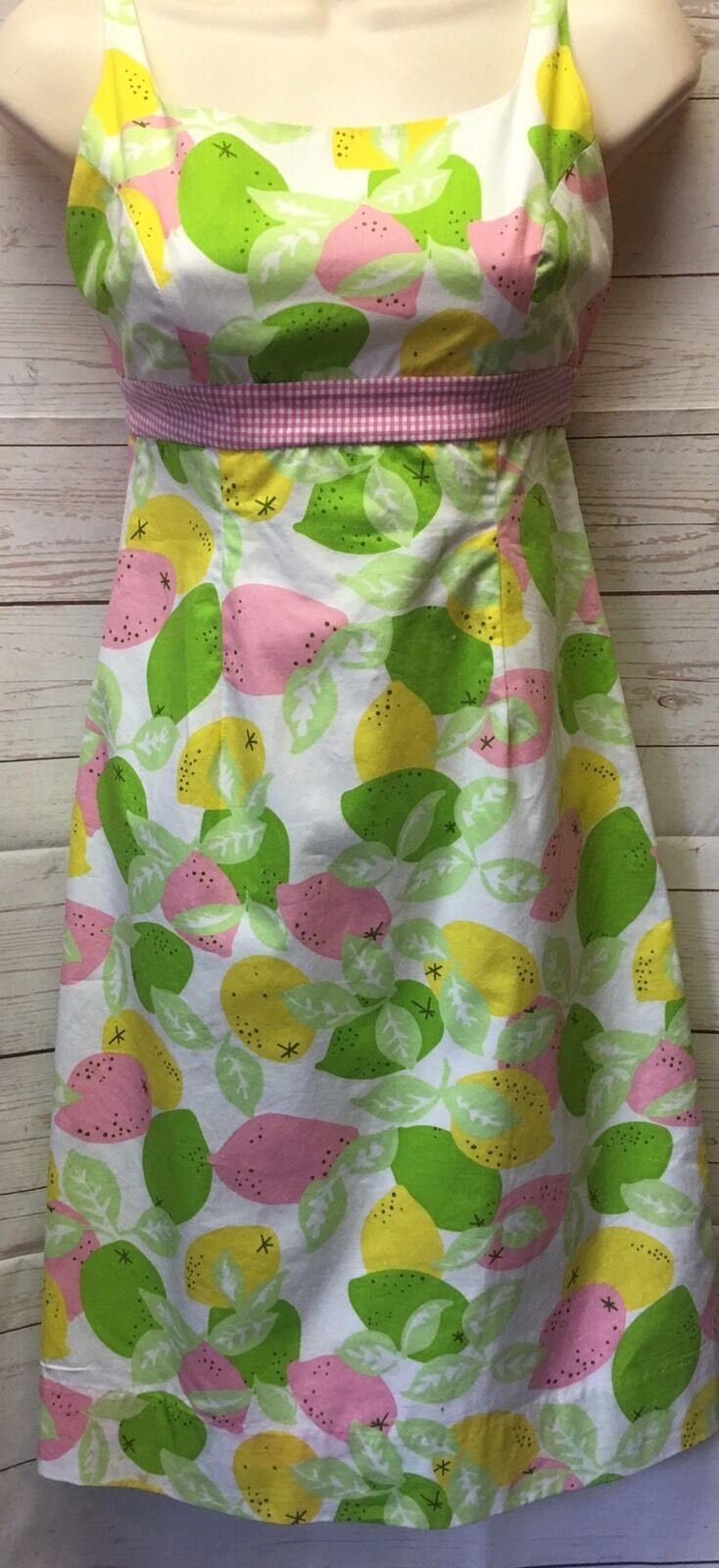 LILLY PULITZER Women's Sz 2 Citrus Fruit Print Pink GINGHAM Detail Sundress