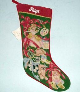 Sferra-Needlepoint-Christmas-Stocking-Girls-Toys-Monogrammed-PAIGE-New