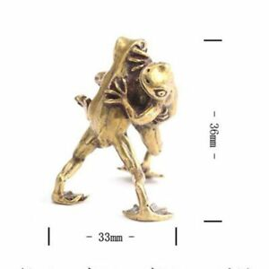 1x-Chinese-Collection-Asian-Brass-Wrestling-Frog-Lucky-fengshui-ornaments-statue