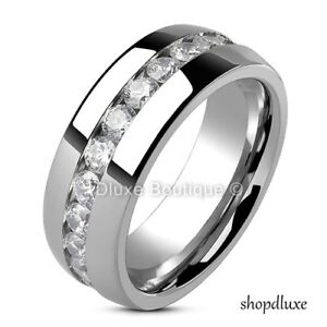 Men-039-s-8mm-Wide-Stainless-Steel-Round-Cut-CZ-Eternity-Wedding-Ring-Band-Size-9-13