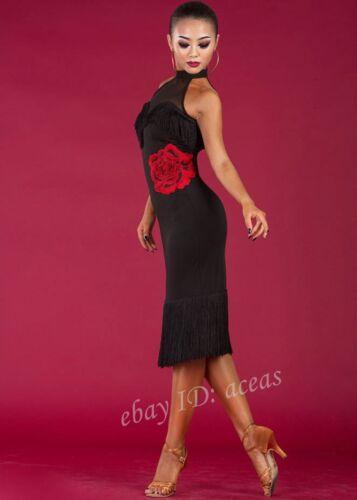 Women Tassels Floral Backless Latin Dance Dress Rumba Samba Cha Cha Ballroom NEW