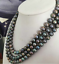 triple-strands-AAA-8-9mm-tahitian-black-pearl-necklace-18-034-19-034-20-034-14k-clasp thumbnail 2