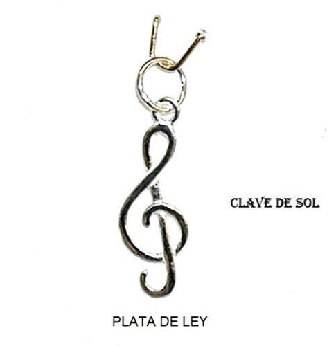 5 mm asa Nuevo y Estuche COLGANTE CLAVE de SOL PLATA de ley 925 25 mm