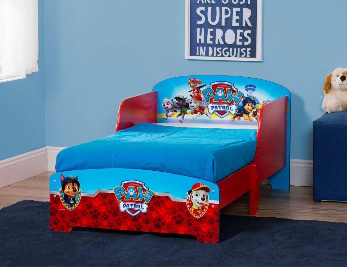 Toddler Bed Frame For Boys Paw Patrol Safety Rails Kids Bedroom Furniture  Wood