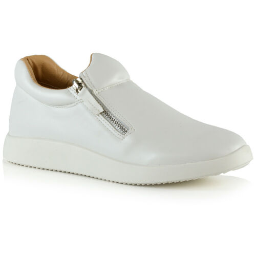 Womens Fashion Sneakers Trainers Shoes Ladies Flexi Sole Casual Zip Pumps Size