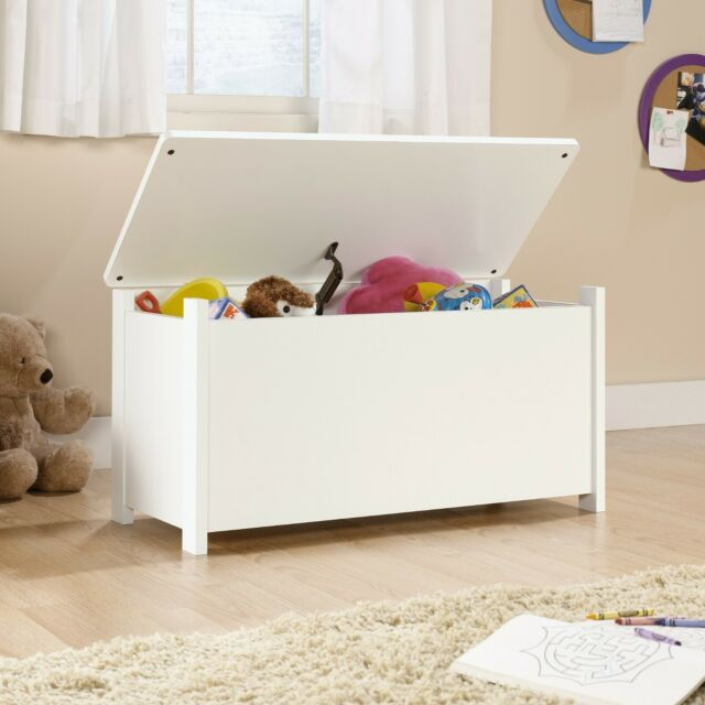 White Toy Storage Box Chest Bin Large Organizer Kids Bedroom Furniture  Playroom