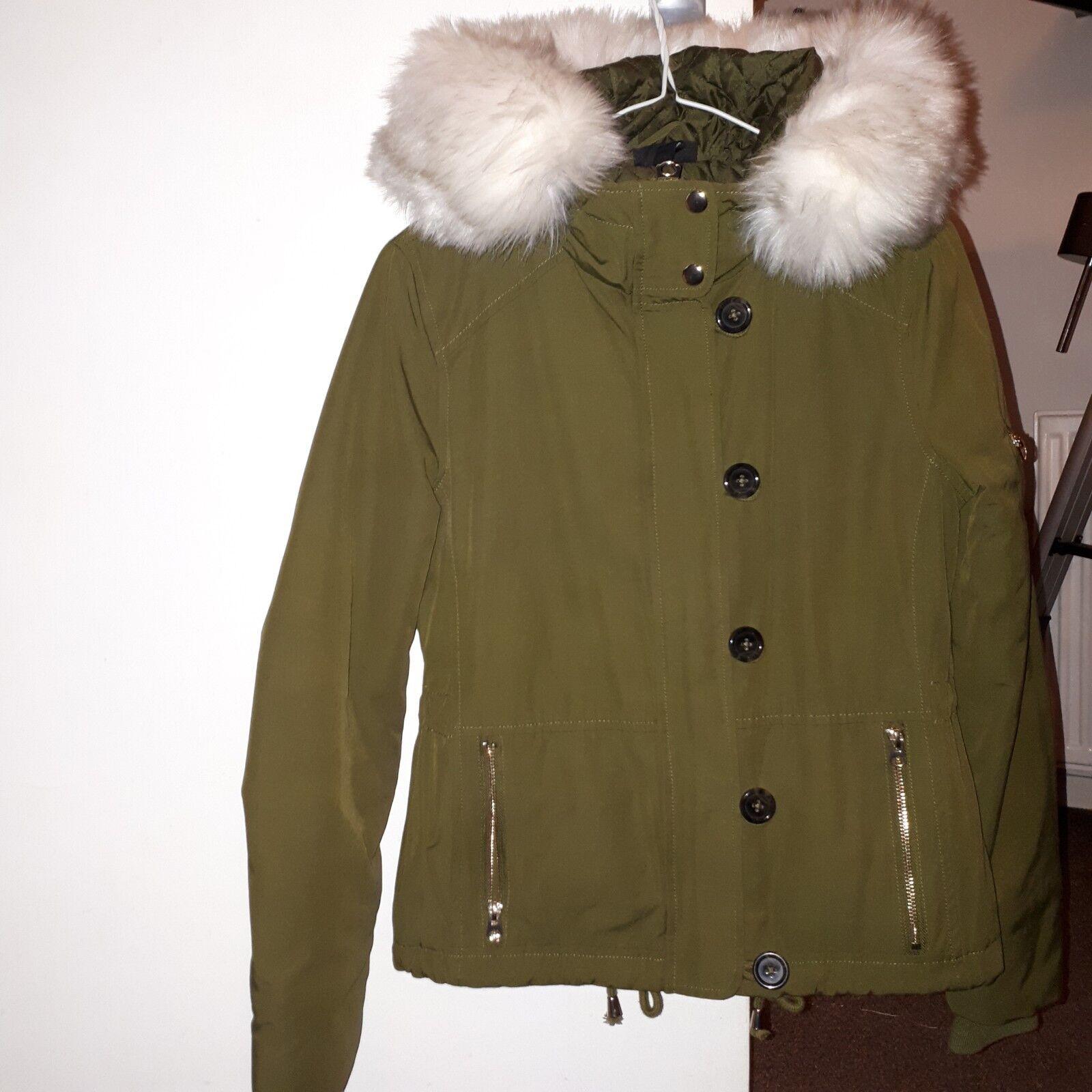 Topshop size 4 khaki green parka coat bomber fur hood, mint, great condition