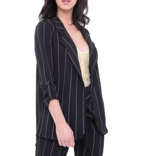 New Womens Stripe Blazer Casual Open Front Pin Striped Smart Blazer Jacket Cheap