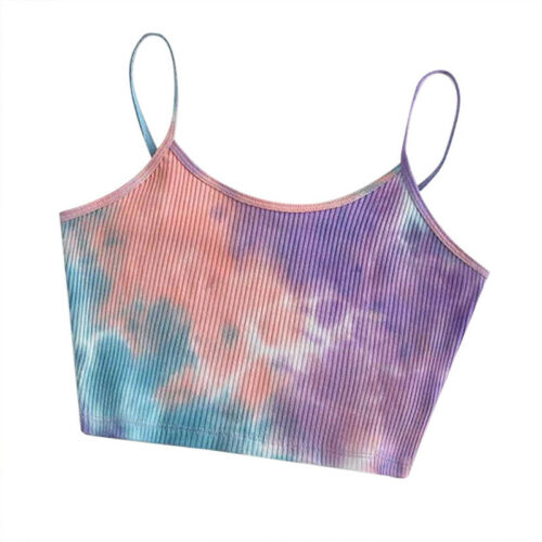 Women/'s Colorful Tie Dye Cropped Tops Spaghetti Strap Summer Casual Tank Vest