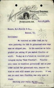1890 Moscow Idaho (ID) Letter Honeyman De Hart Co. M.J. Shields & Co.