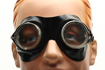 Antiqe 1920's safety goggles in black with clear mineral lenses