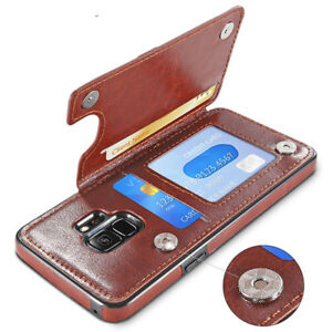 For Samsung Galaxy S9 Plus S8 Note 8 Leather Flip Wallet Card Holder Case Cover