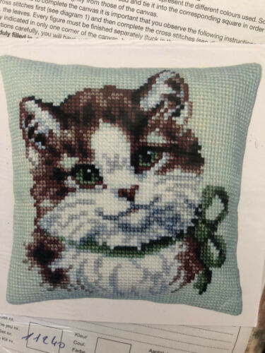 Vervaco Needlepoint Kit Cat Kiten ow Cover Verachert