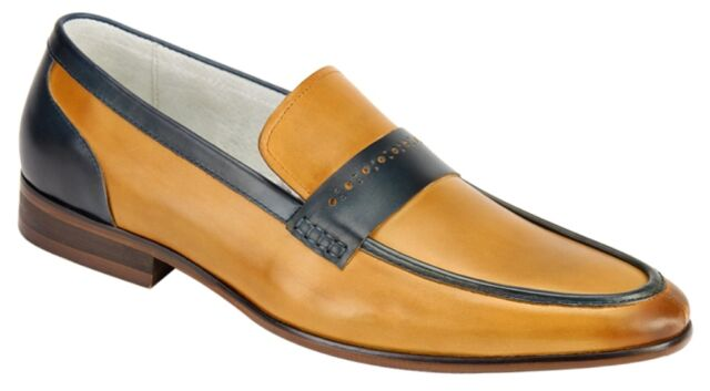 Men's Dress shoes Slip On Loafers Latte/Blue 2-Tone Leather GIOVANNI CRISPINO