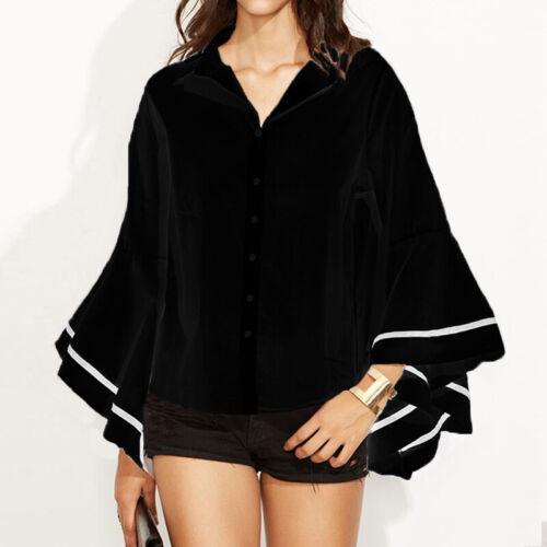 ZANZEA Women Summer Flare Bell Sleeve Top Blouse Tee Basic Button Down Shirt HOT