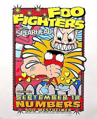 Foo Fighters 1995 Original Silkscreen Concert Promo Poster Uncle Charlie Art S/N