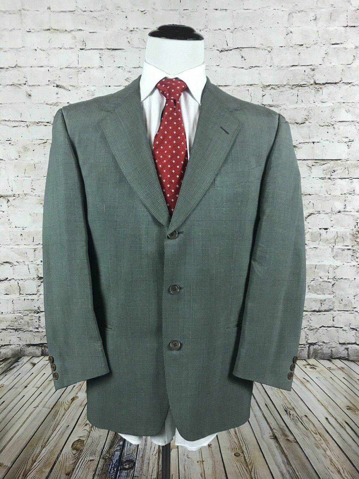 Ermenegildo Zegna Three Button verde Sport Cappotto Size 40R 100% Silk verde Button Glen Plaid be4c47