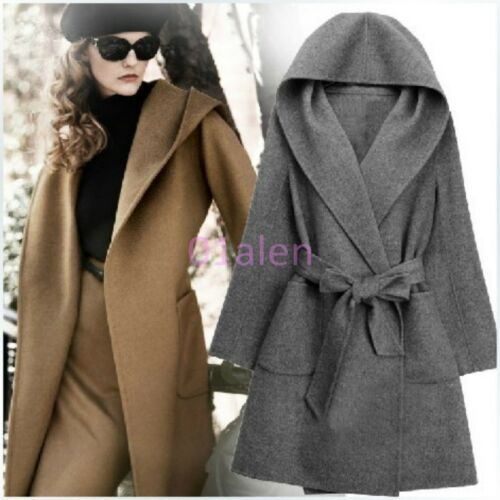 Cashmere Blend Long Hot Hooded uld Mid Womens Jakker Coats Parkas Belt Fashion qCOwOSyR