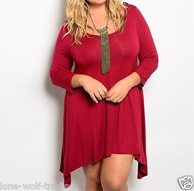 "Ladies Plus Size ""Burgundy"" 3/4 Sleeves Asymmetric Hem Tunic Top/Dress"