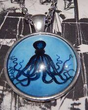 BLUE OCTOPUS NECKLACE nautical squid kraken Lovecraft Cthulhu silver pendant E1