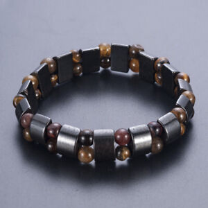 Black-Magnetic-Hematite-Stone-Bracelet-Therapy-Health-Care-Weight-Loss-Jewelry