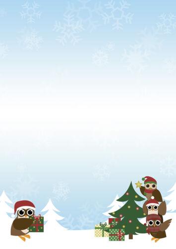 Happy Eule Motivpapier Briefpapier Eulen Christbaum Weihnachten 100 Blatt A4 owl