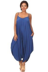 New Womens Plus Size Royal Blue Harem Jumpsuit Romper Dress Sizes