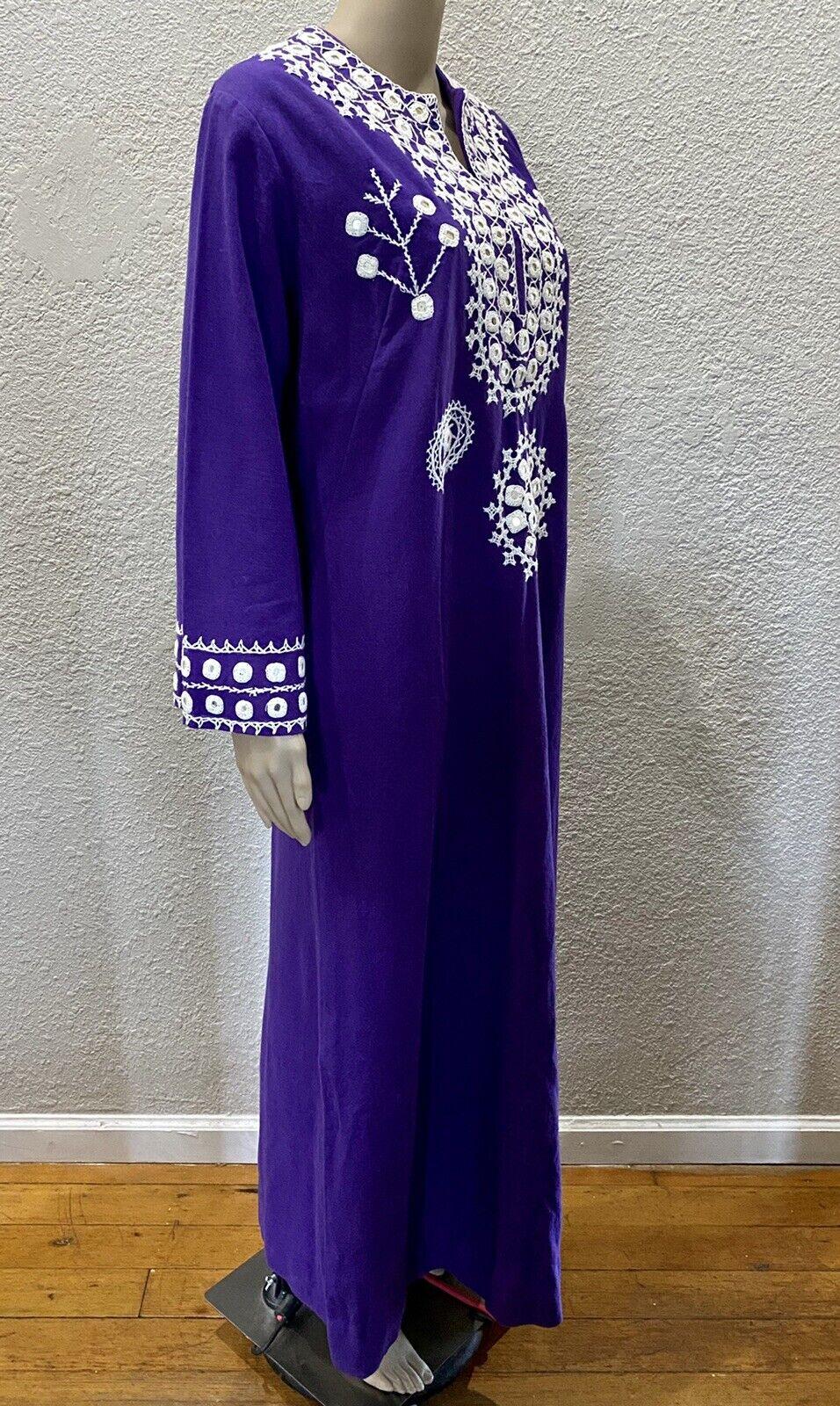Ramona Rull Purple Cotton MIRROR Embroidery 60s B… - image 5