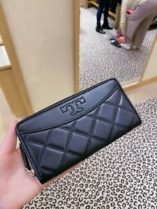 NWT-TORY-BURCH-Savannah-Quilted-Zip-Continental-Long-Wallet-61506-Black-Gold