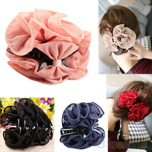 EG-Fashion-Korean-Womens-Chiffon-Rose-Flower-Bow-Jaw-Clip-Barrette-Hair-Claw-Gi